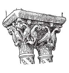 Romanesque capitals from the cloister of monreale vector