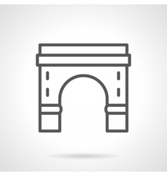 Round arch with pillars black line icon vector image