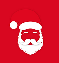 santa claus in hat on red background clauss vector image