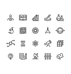 science line icons laboratory equipment physics vector image