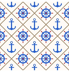 Seamless nautical pattern with anchors wheels rope vector