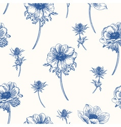 Seamless pattern with anemones flowers vector