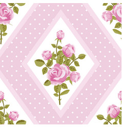 Seamless walpaper with pink roses vector