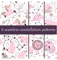 set 6 star constellation seamless patterns vector image