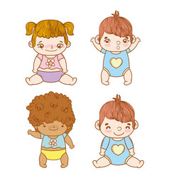 Set cute babies with hairstyle and diaper vector