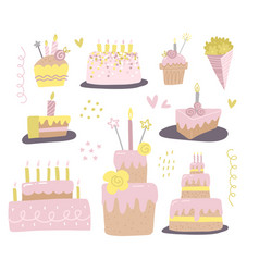 set different cakes with candles design for vector image