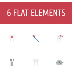 Set of dental icons flat style symbols with vector