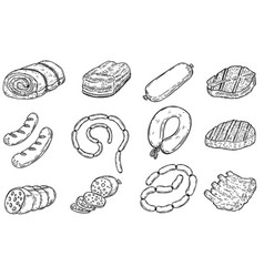 set of hand drawn meat products sausages bacon vector image
