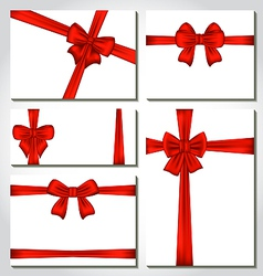 Set of red gift bows for design packing vector