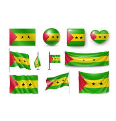 set sao tome and principe flags banners symbols vector image