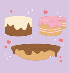 set sweet cakes bakery icons vector image