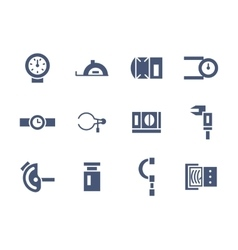 Simple glyph measuring tools icons set vector image