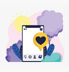 smartphone speech bubble love romantic social vector image