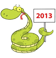 Snake Cartoon Character With Text 2013 vector image
