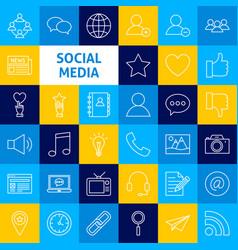 Social media line icons vector