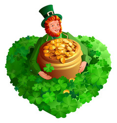 St patrick s day red gnome leprechaun holds pot vector