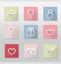 St valentine s day icons set simple symbols with vector