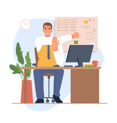 Stretching male worker sitting table in office vector