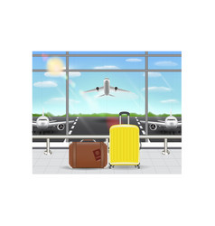 suitcase and travel bag in airport terminal vector image