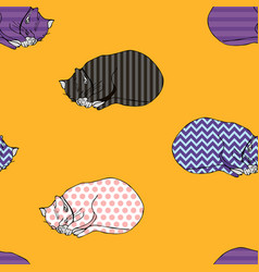 sweet kitten seamless yellow pattern vector image