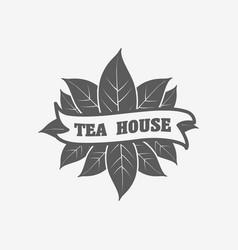tea house logo badge or label design concept vector image