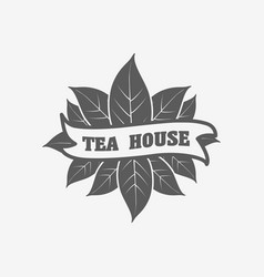 Tea house logo badge or label design concept with vector