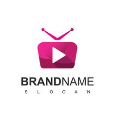 Television logo media player symbol vector