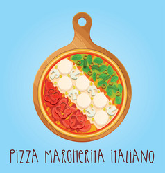the real pizza margherita italiano on wooden board vector image