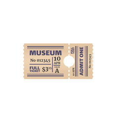 ticket to museum numbered paper card admit one vector image