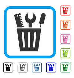 tools bucket framed icon vector image