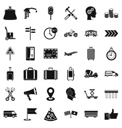 Transportation icons set simple style vector