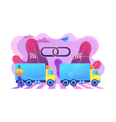 truck platooning concept vector image