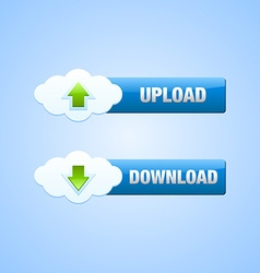 Upload and download cloud buttons vector image vector image