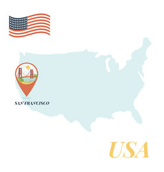 Usa map with san francisco pin travel concept vector