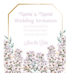 white lavender wedding card bouquet watercolor vector image