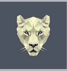 White lioness polygonal logo vector