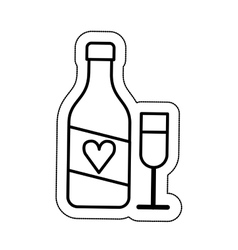wine bottle and cup isolated icon vector image