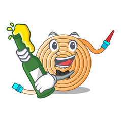 With beer the water hose mascot vector