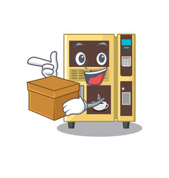 With box coffee vending machine with cartoon shape vector
