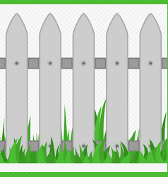 Wooden fence with grass type two vector