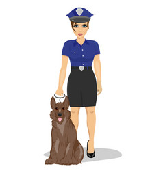 young policewoman standing with a dog vector image