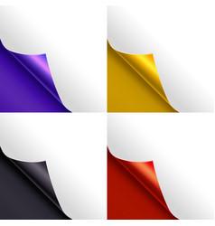 blank paper page color corner set vector image vector image