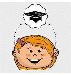 cartoon girl school icon vector image vector image