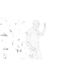 Conceptual abstract man with hand pointing up vector