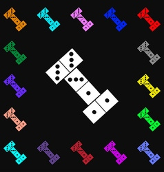 Domino icon sign lots of colorful symbols for your vector