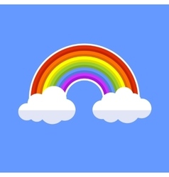 Rainbow With Clouds Flat Style Icon vector image vector image
