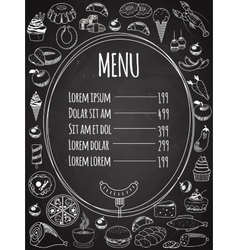 Seamless Food Menu on Chalkboard vector image