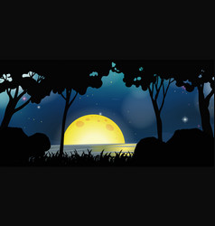 background scene with fullmoon at night vector image vector image
