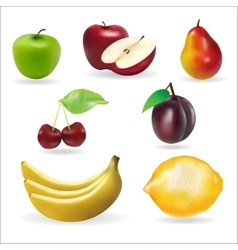 banana apple pear cherry lemon fresh summer fruits vector image
