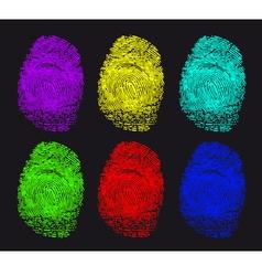 colored fingerprints vector image